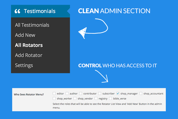 Clean admin panel. Available only to those you want.