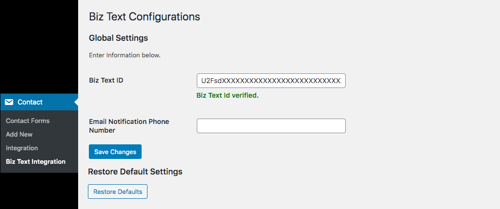 Screenshot of Biz Text Integration page and global configurations