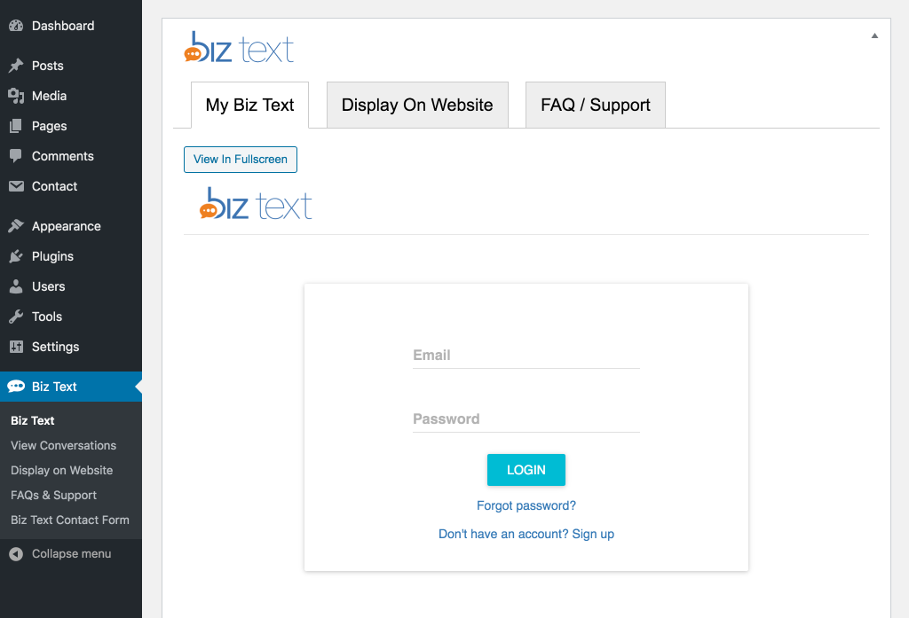 Login To Plugin - Login with your existing Biz Text account or click on a link to sign up for a new Biz Text account screenshot-1.(png|jpg|jpeg|gif).