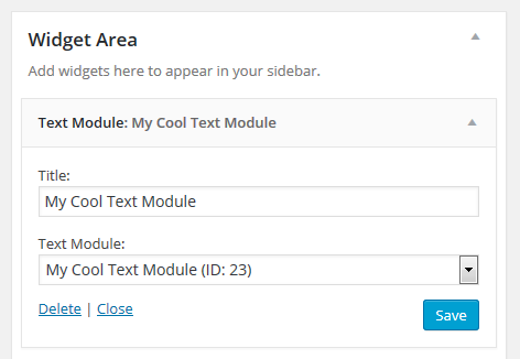 strongWidget/strong - Use any text module in a Text Module widget.