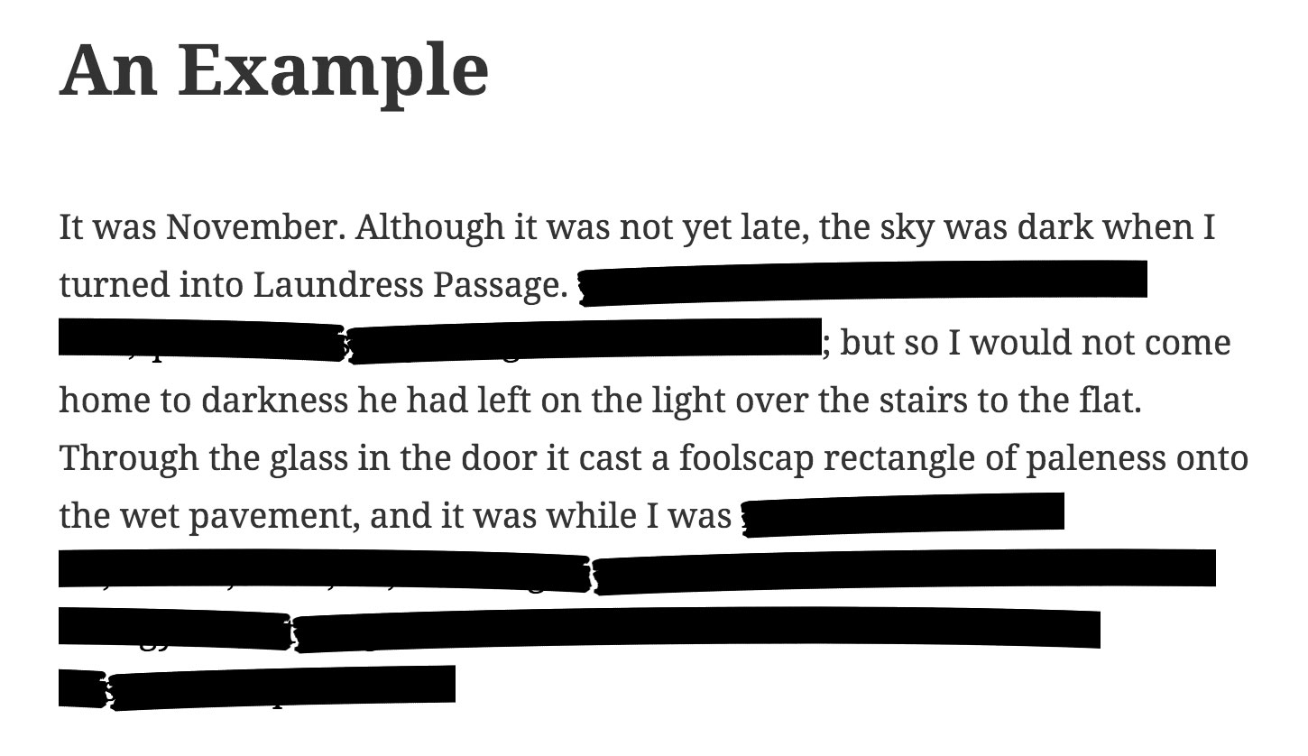 Result: Example of Redacted text with Jumble.