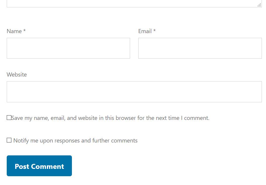 Option to receive notifications for responses and further comments, within comment form