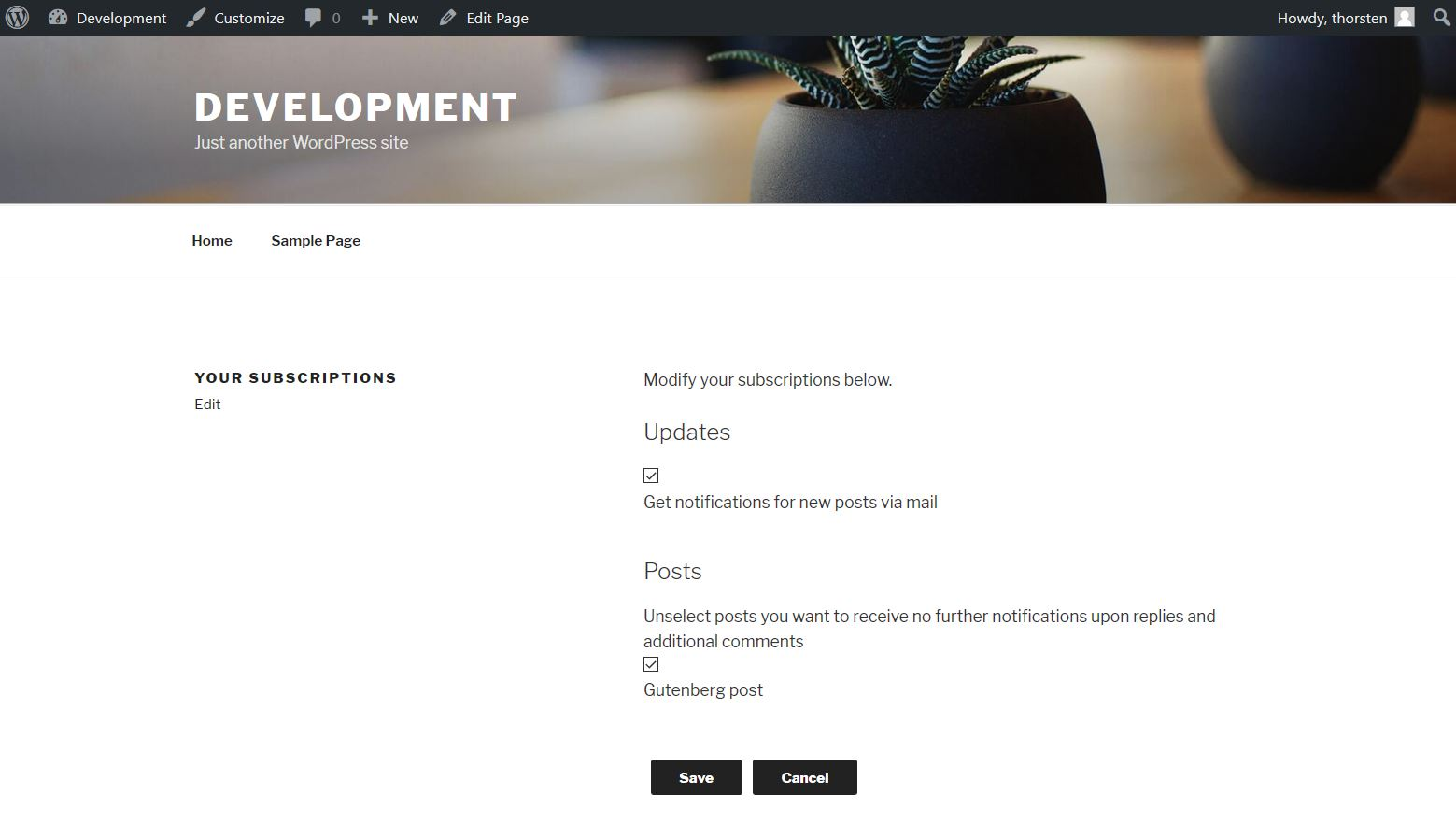 Subscriptions management page on frontend via th23 User Management plugin (2017 default theme), for registered user