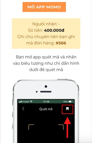 Màn hình thanh toán trên di động khi người dùng đã tải hình QR Code