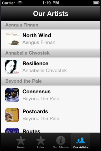 "A custom page.  The shortcode that generated this is <code>[app_item title=""Our Artists"" icon=team1 callback=borealis_catalogue_app group_by=category orderby=category indexbar=false]</code>.  Note the callback attribute.  Elsewhere, I defined a function called <code>borealis_catalogue_app</code> that set up this page.  See the frequently asked questions."