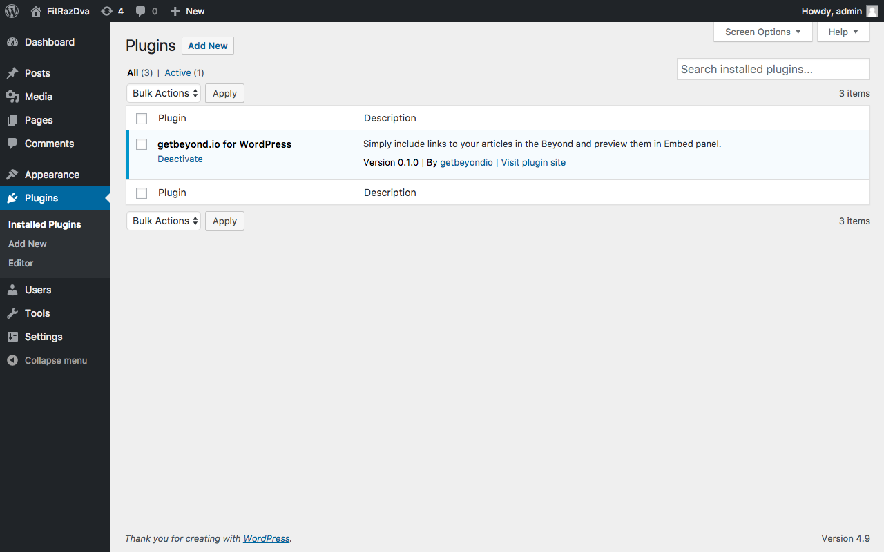 The Beyond for WordPress is installed and activated successfully