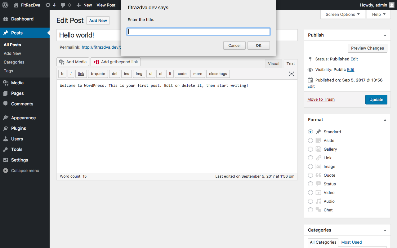 Next step, input for inserting link title.