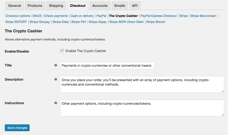 The WooCommerce (version 3.3.4) administration panel showing The Crypto Cashier payment gateway settings, which is under the Checkout tab.