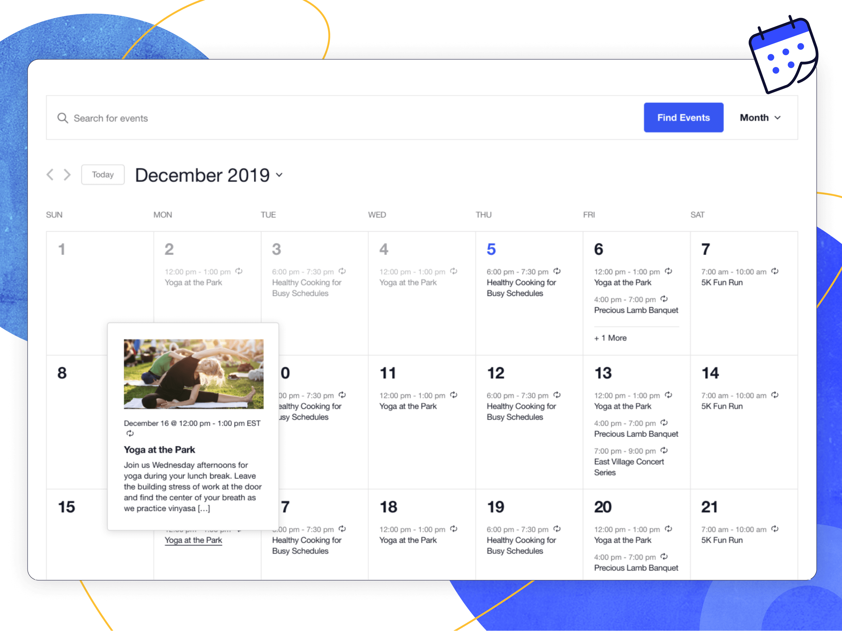 Month View with Hover