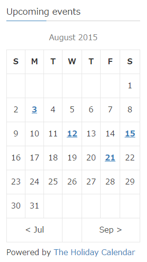 The Holiday Calendar – WordPress plugin | WordPress org
