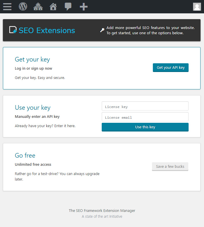The activation page. You can choose both a premium and a free activation.