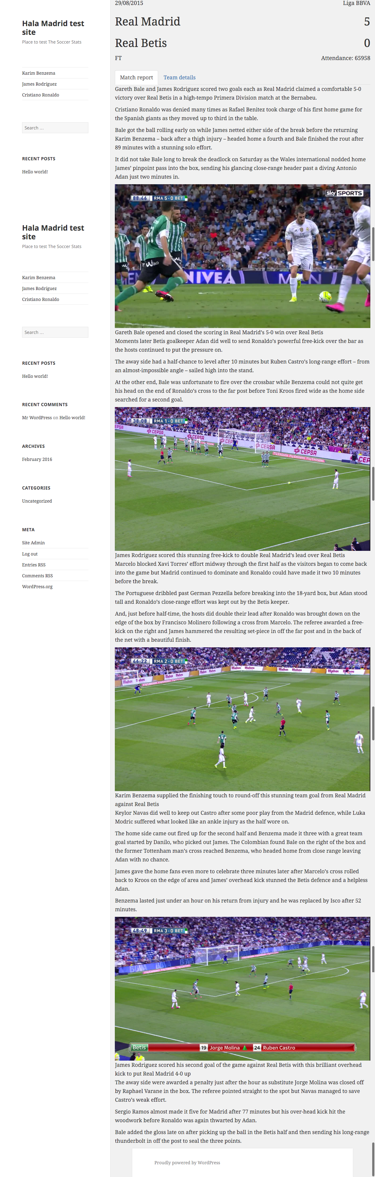 Default match template using twenty fifteen theme