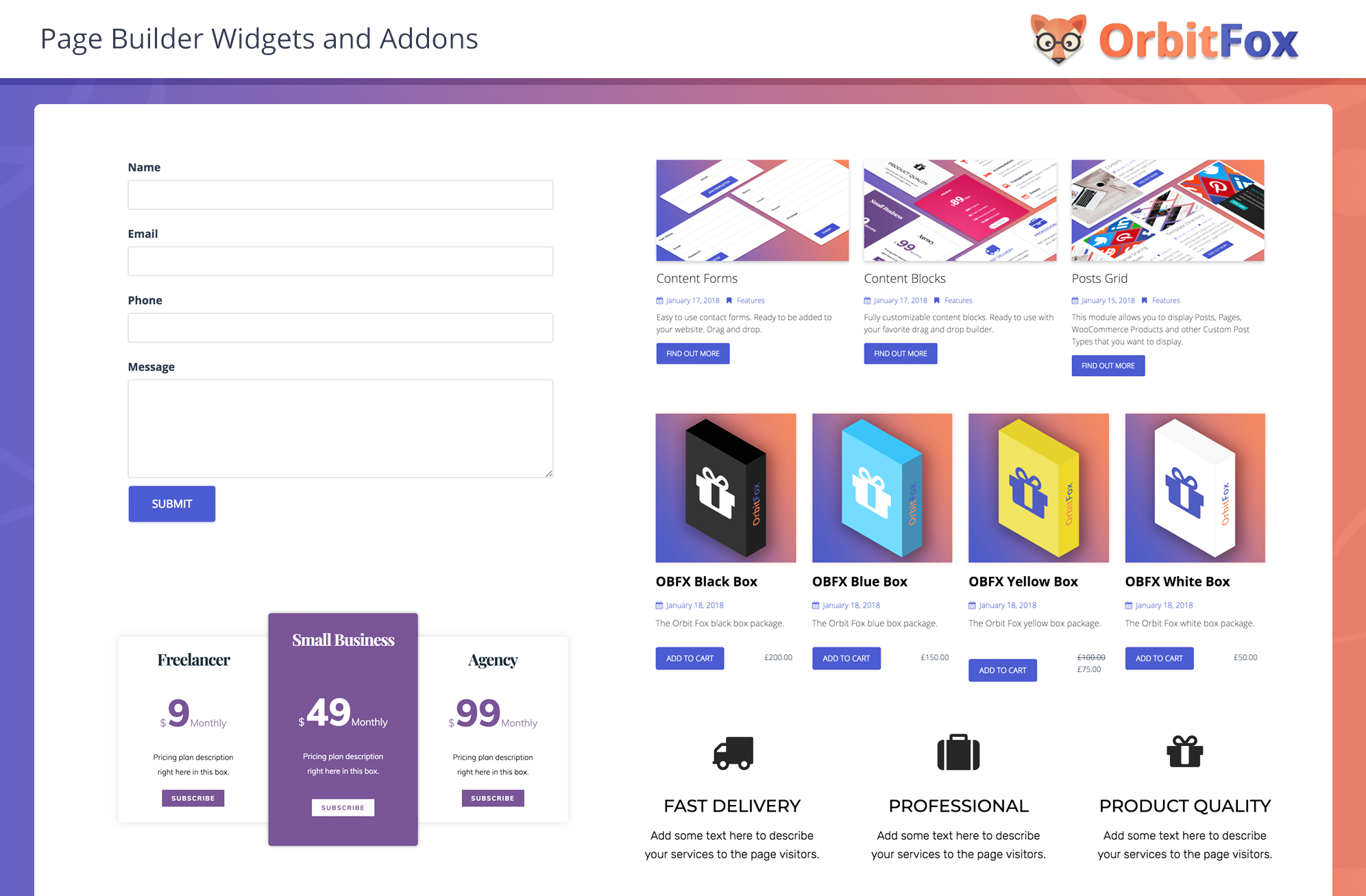Page Builder Widgets and Addons