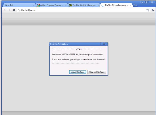 The screenshot of a Modal Window in Chrome 11