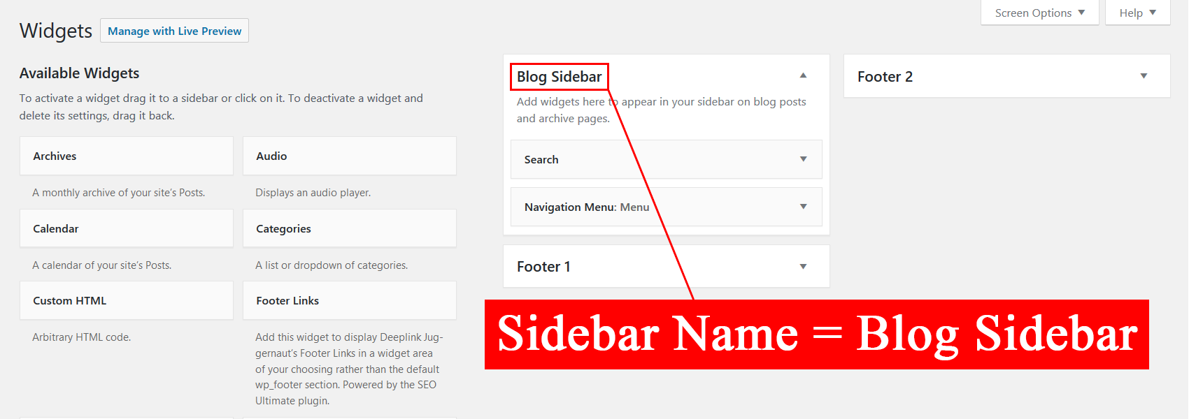 How to find a sidebar Name.