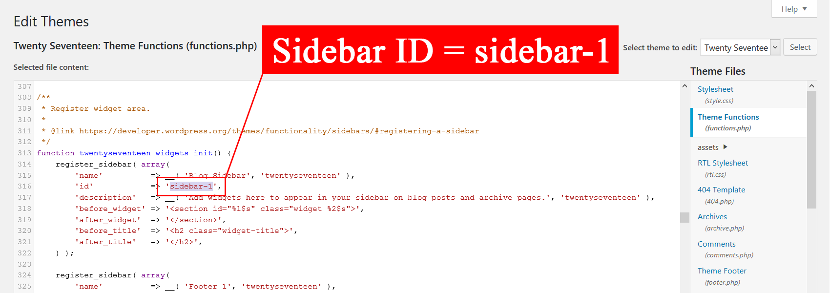 How to find a sidebar ID.