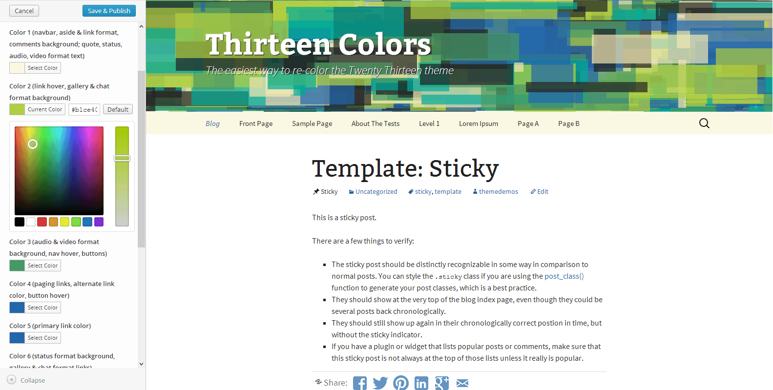 Color customization interface within the theme customizer.
