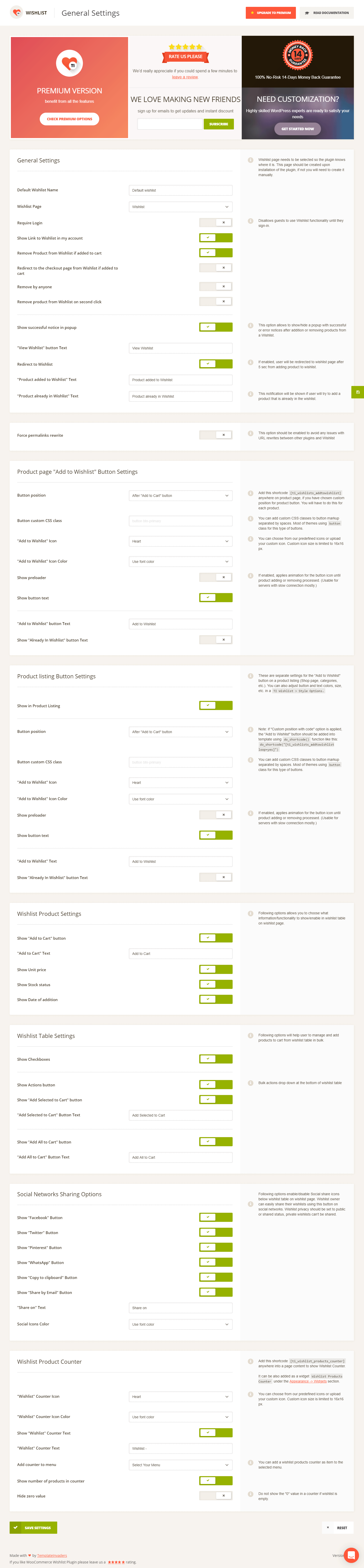 Wishlist Settings page