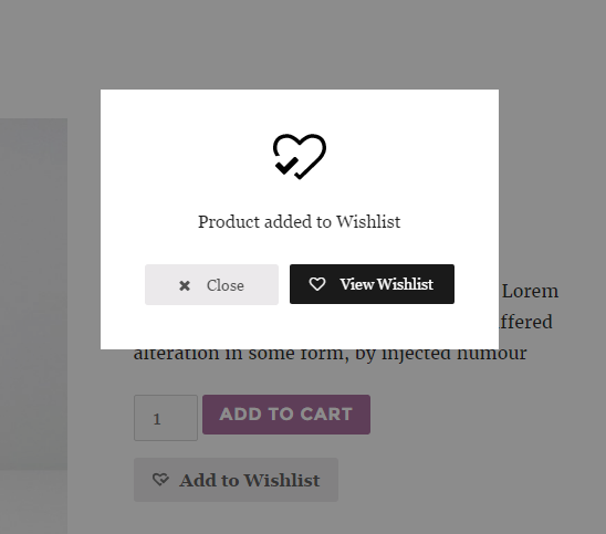 Wishlist page with turned off date of addition, checkboxes and bulk actions.