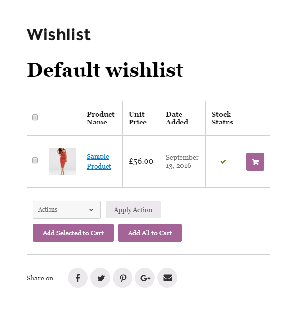 When you click Add to Wishlist button a popup with success or error message appears.