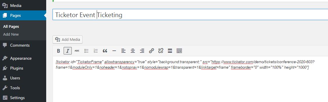 <p>[ticketor] shortcode. How to use Ticketor WordPress plug-in.</p>