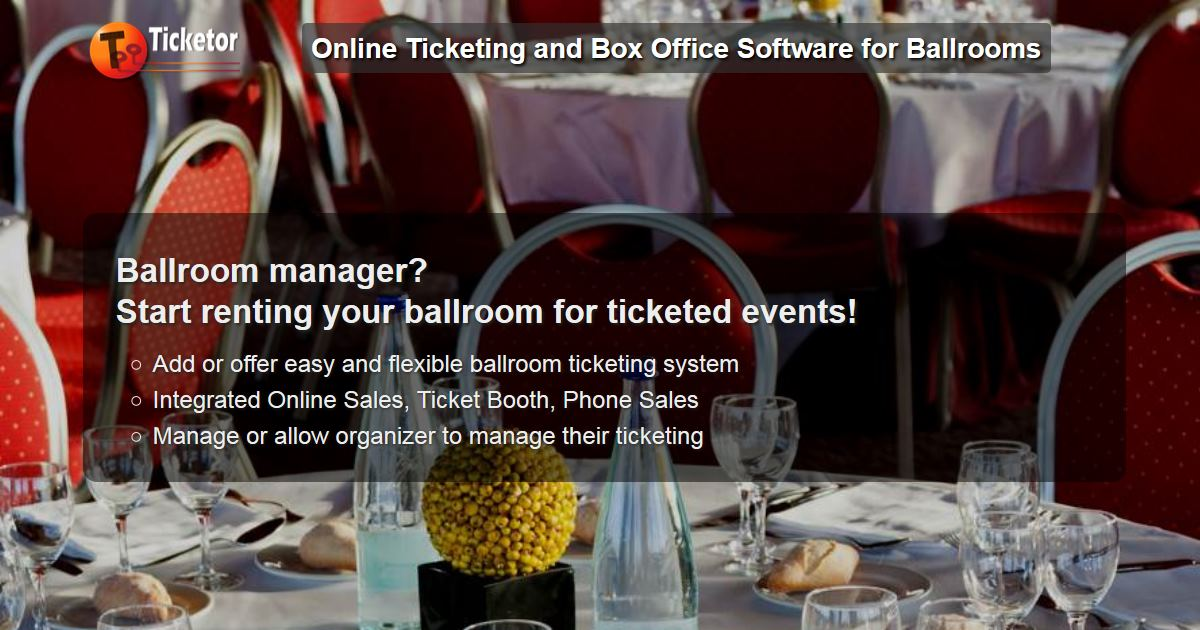 <p>Ballroom event ticketing and box-office system for ballrooms with support for amphi-theater style or round-table seating charts</p>