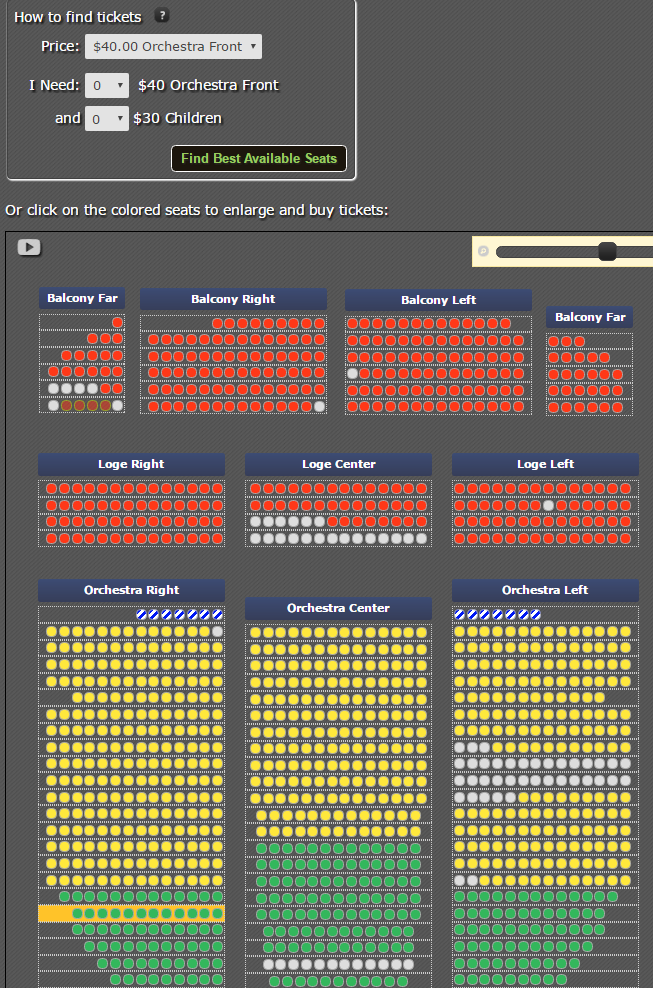 <p>Ticketing for an assigned seat event on an interactive seating chart</p>