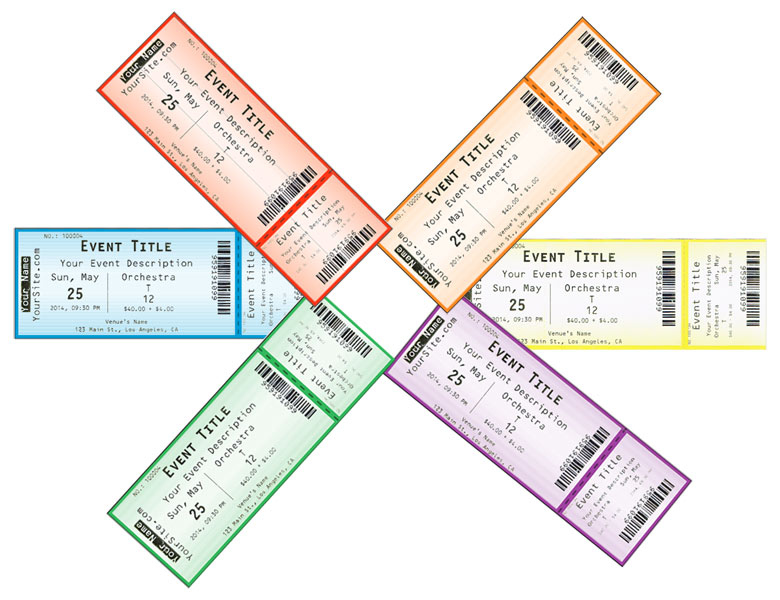 <p>Hard tickets printed using Ticketor in 6 different beautiful colors</p>