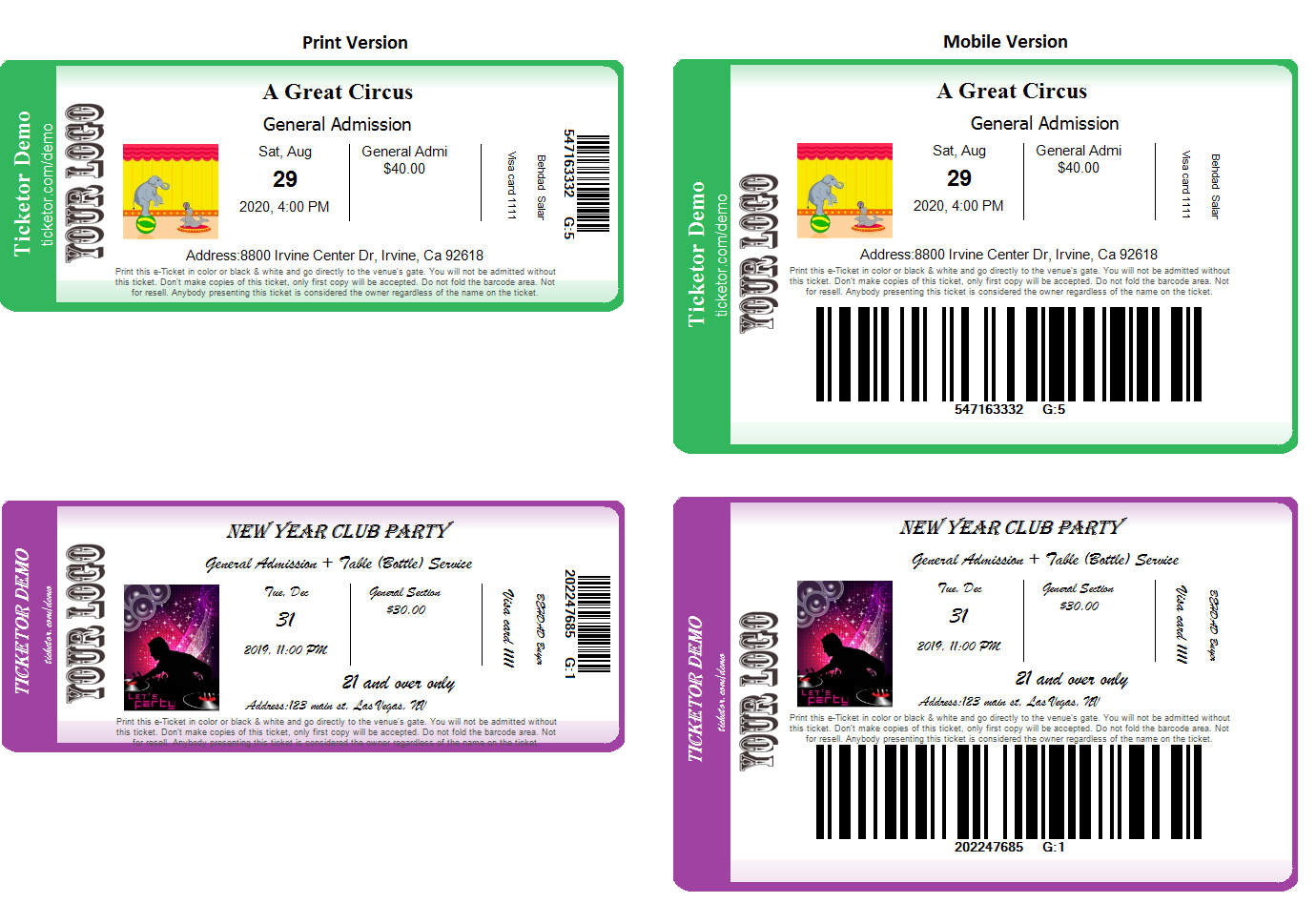 <p>E-tickets and mobile tickets with barcode generated by Ticketor</p>