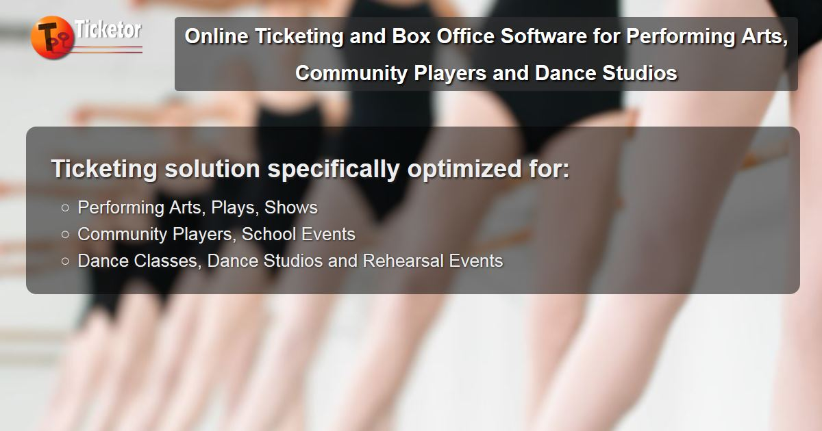<p>Ticketing solution for dance studios, rehearsal, performances and performing art</p>