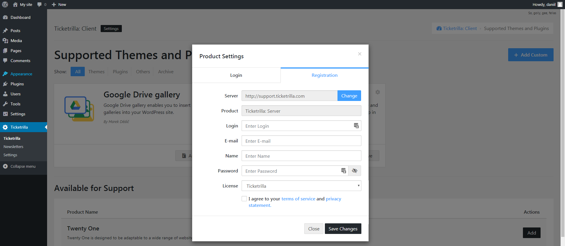 Window of connection to product support. In the 'License' field you must select the type of license that the seller gave you. If you do not know what type of license to choose, then connect with the 'Ticketrilla' license and create the first ticket. In it check with the developer and after answering you can change the type of license and enter the token.