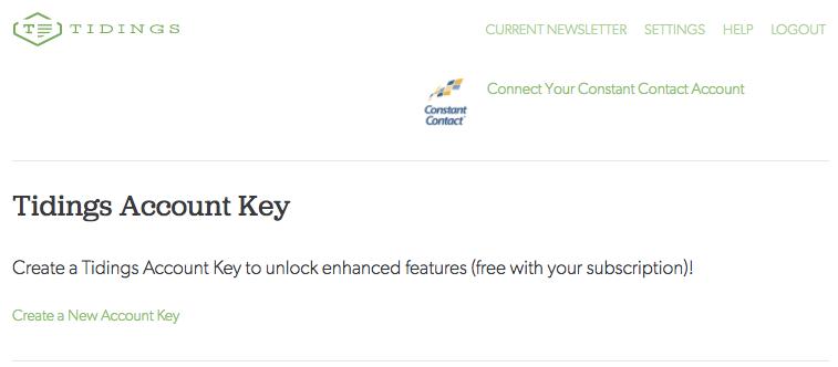 Create a Tidings Account Key at https://app.tidings.com/users/edit.