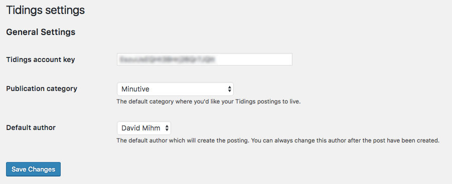 Paste the key into basic plugin settings (Settings->Tidings). Confirm default category and author.