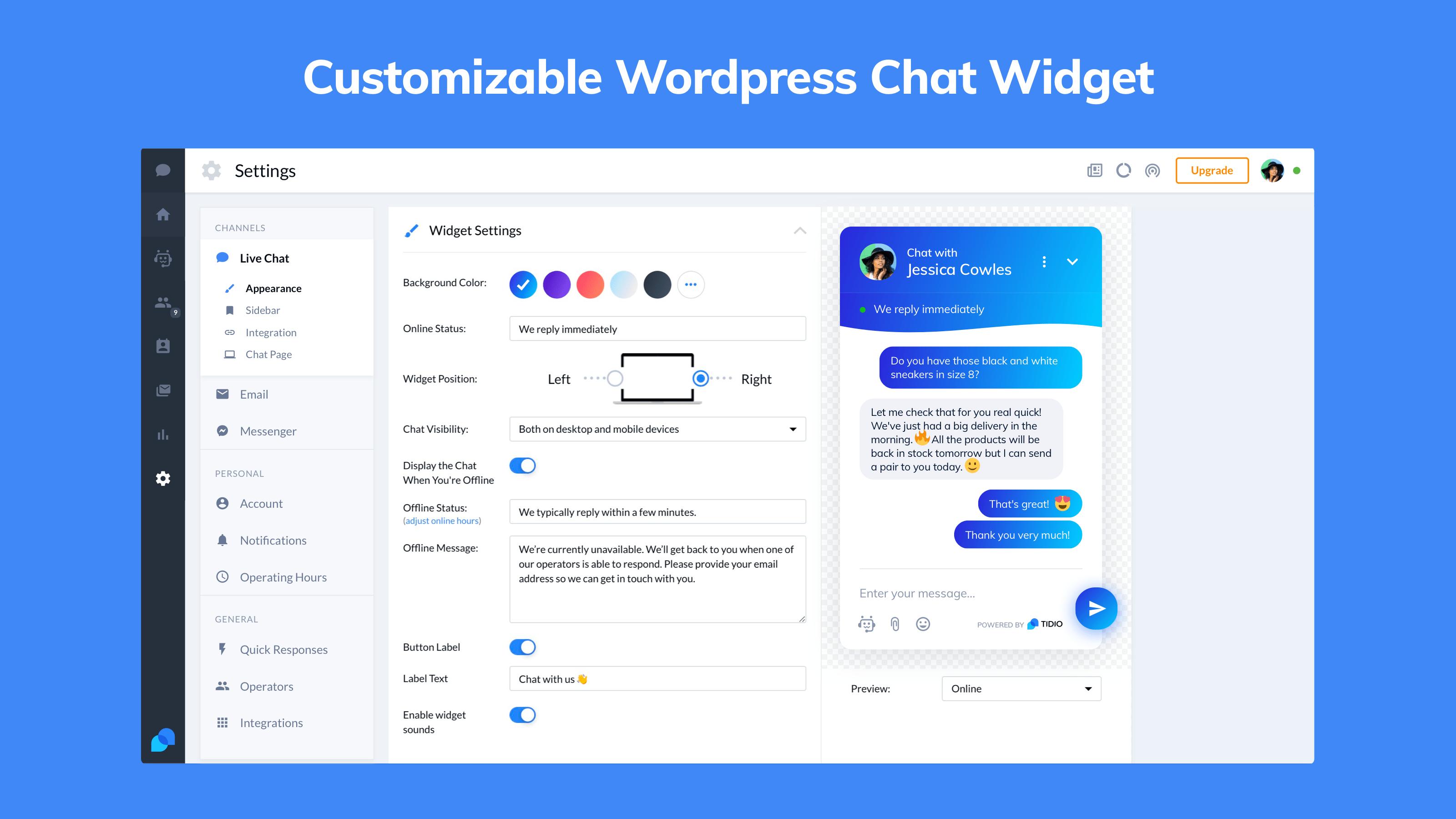 Tidio wordpress chatbot