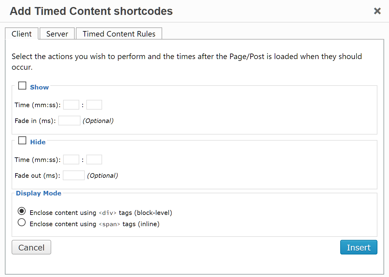Timed Content – WordPress plugin | WordPress org