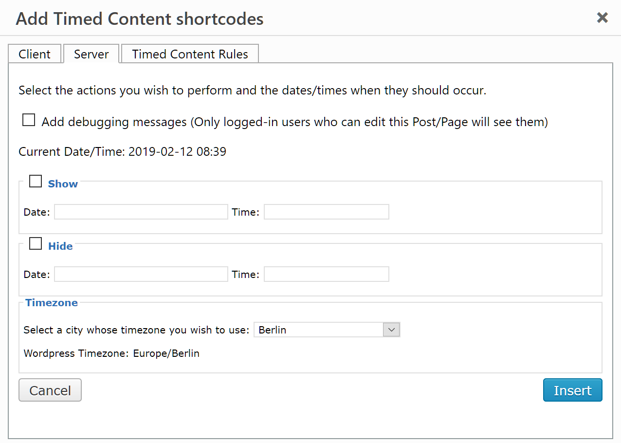 """The """"Add Timed Content shortcode"""" dialog showing the Server tab.  Check the attribute you want to add, then click on the Date and Time textboxes."""