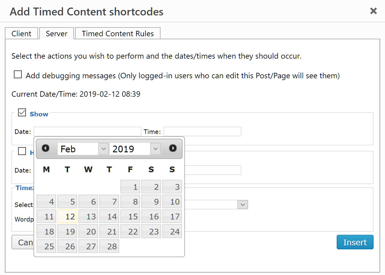The date and time pickers help you format a correct date and time.  Here's the jQuery UI Datepicker in action.