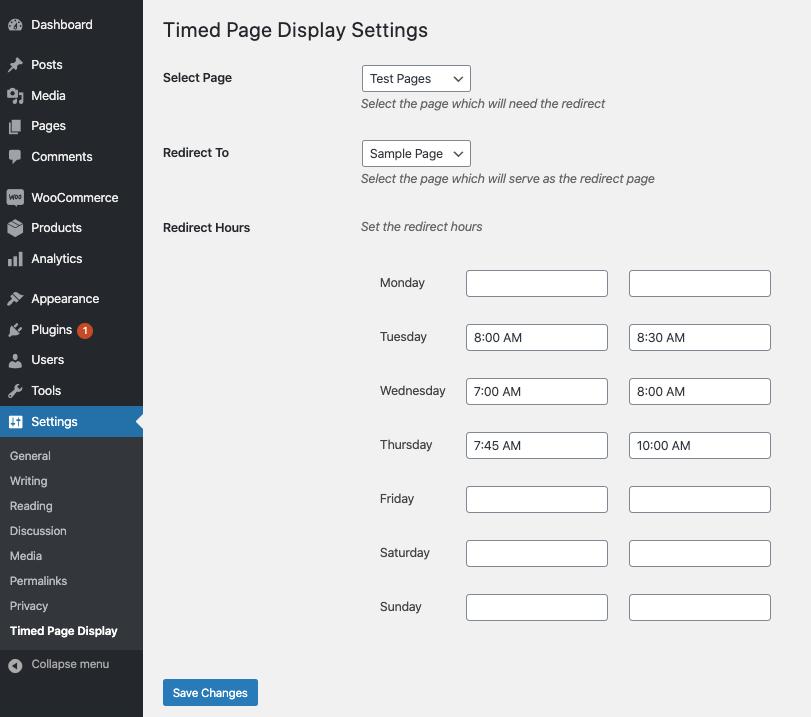 Settings interface