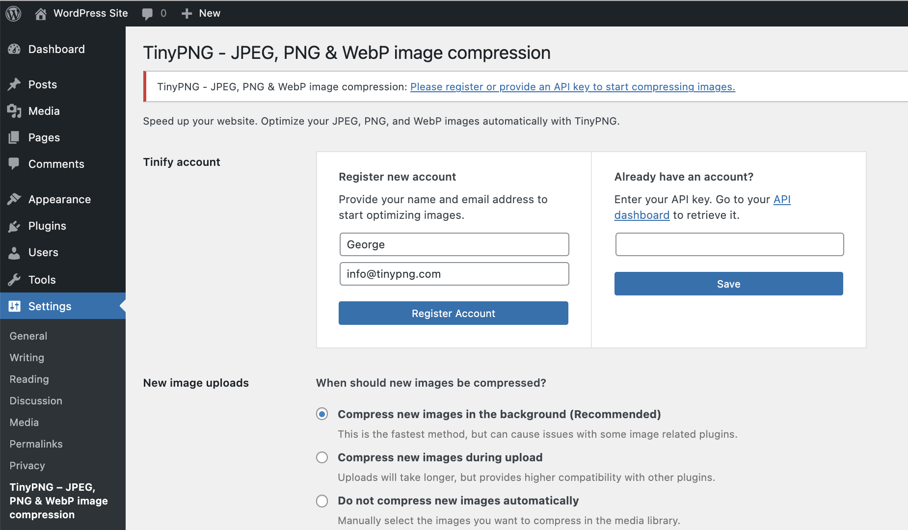 Compress JPEG & PNG images – WordPress plugin | WordPress org