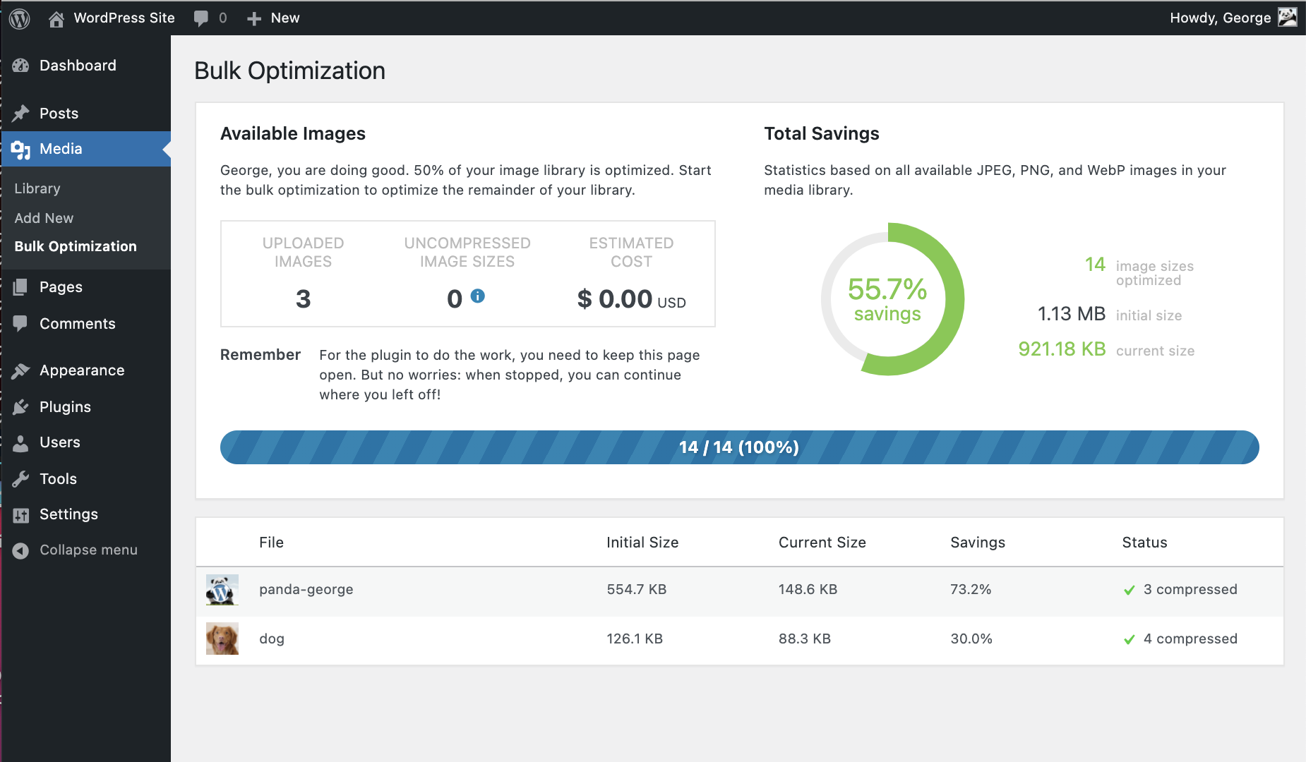 Last but not least you can also use Bulk Optimization to optimize your entire WordPress site.