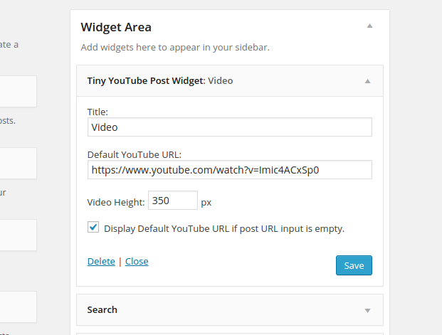 Tiny YouTube Post Widget Screenshot.