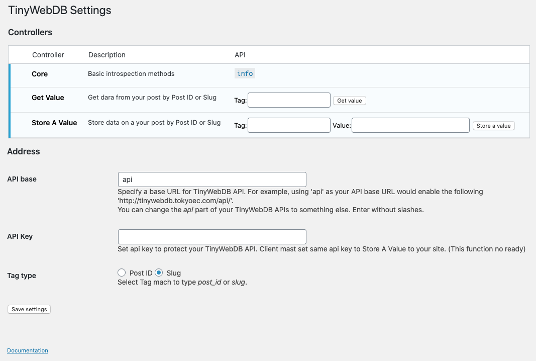 The TinyWebDB API management page in the WordPress Admin.