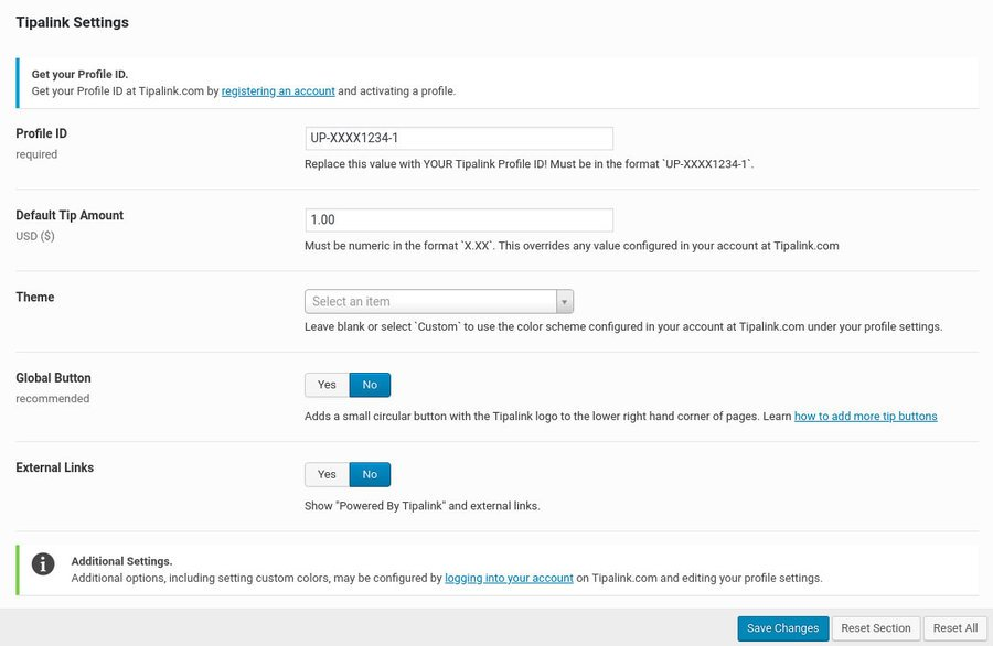 Screenshot of the Tipalink WP Plugin settings page.