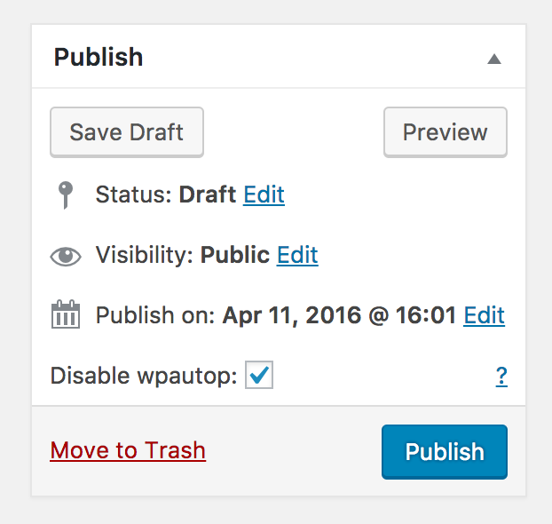 The disable wpautop checkbox on post edit screens.