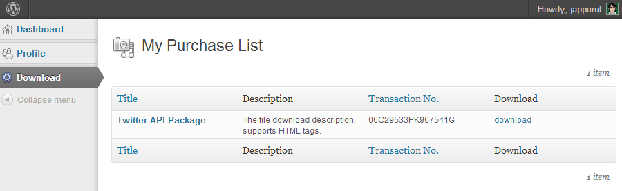 Purchaser download section