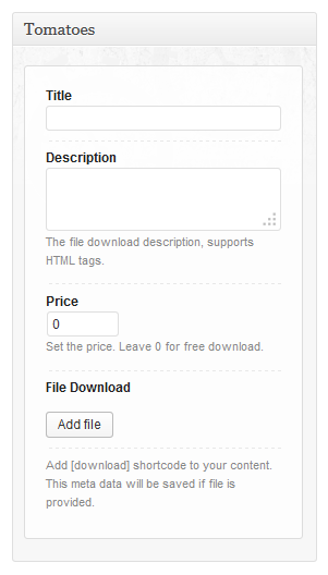 Post meta options for setting the downloads
