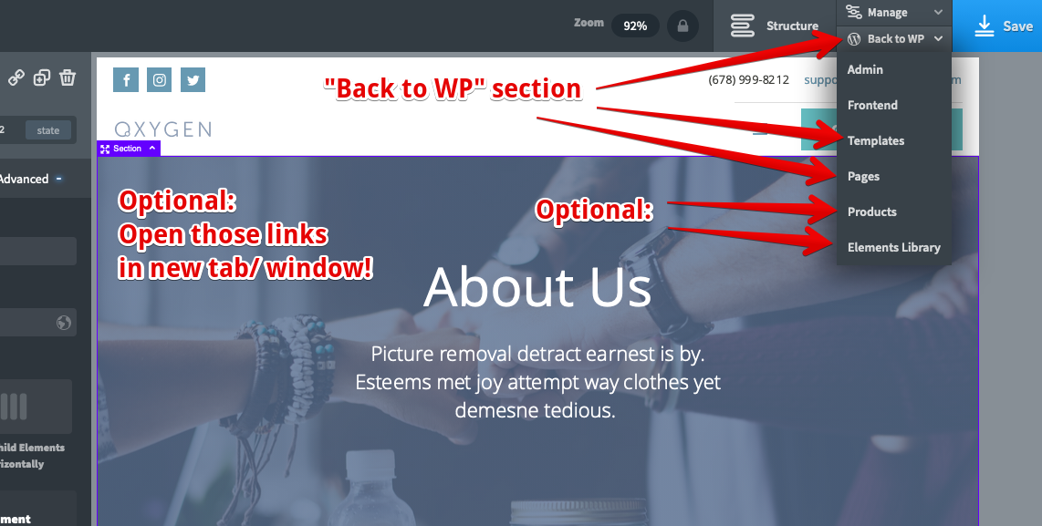 "Additional ""Back to WP"" links in Oxygen Builder's own Toolbar"