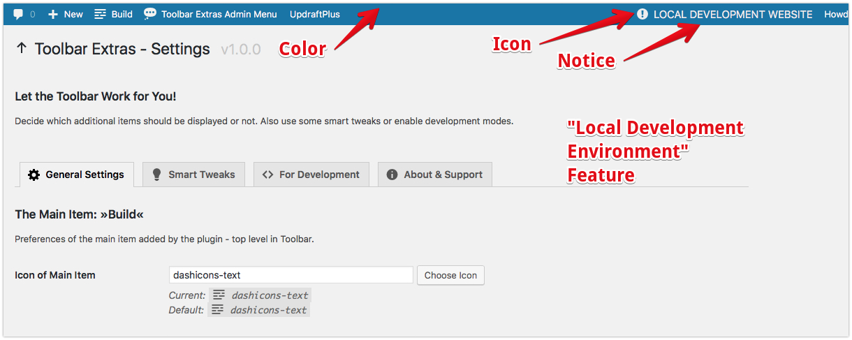 """Toolbar Extras - """"Local Development Environment"""" - use the Toolbar to differentiate your various local, development, staging, production, live sites"""