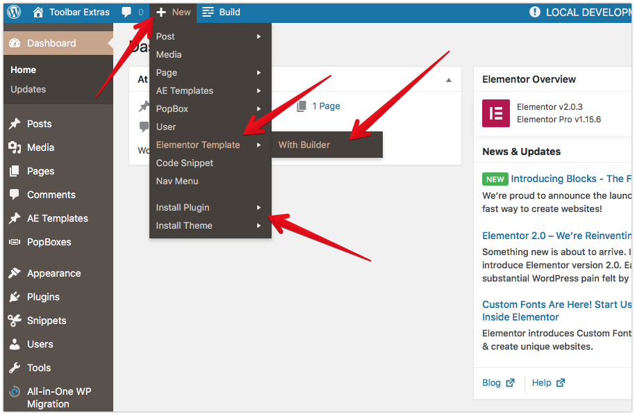 """Toolbar Extras - Additional links for """"New Content"""" Group - create Elementor Template from Toolbar - open the Elementor Editor (live Builder) directly with a new template and start editing directly!"""