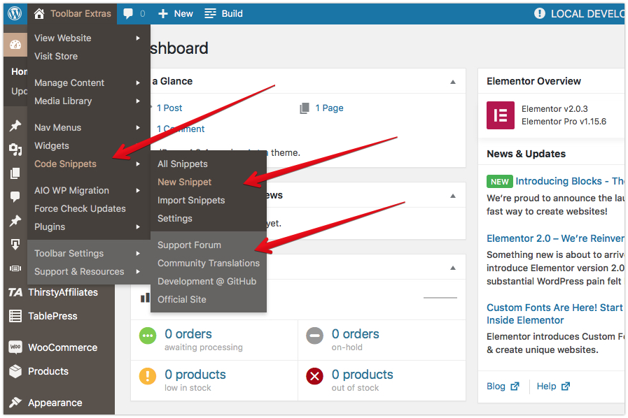 """Toolbar Extras - example of supported Plugin """"Code Snippets"""""""